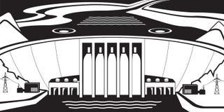 Εγκαταστάσεις υδρο παραγωγής ενέργειας σε μια λίμνη φραγμάτων ελεύθερη απεικόνιση δικαιώματος