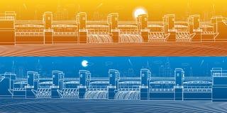 Εγκαταστάσεις υδρο παραγωγής ενέργειας Φράγμα ποταμών Ενεργειακός σταθμός Υδραυλική ισχύς Βιομηχανική απεικόνιση υποδομής πόλεων  ελεύθερη απεικόνιση δικαιώματος