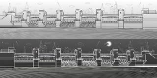 Εγκαταστάσεις υδρο παραγωγής ενέργειας Φράγμα ποταμών Ενεργειακός σταθμός Υδραυλική ισχύς Βιομηχανική απεικόνιση υποδομής πόλεων  διανυσματική απεικόνιση