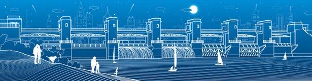 Εγκαταστάσεις υδρο παραγωγής ενέργειας Φράγμα ποταμών Ενεργειακός σταθμός Υδραυλική ισχύς Η παραλία Βιομηχανικό illustrati υποδομ απεικόνιση αποθεμάτων