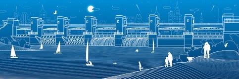 Εγκαταστάσεις υδρο παραγωγής ενέργειας Φράγμα ποταμών Ενεργειακός σταθμός Υδραυλική ισχύς Η παραλία Βιομηχανικό illustrati υποδομ ελεύθερη απεικόνιση δικαιώματος