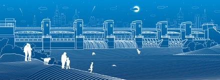 Εγκαταστάσεις υδρο παραγωγής ενέργειας Φράγμα ποταμών Ενεργειακός σταθμός Υδραυλική ισχύς Οι άνθρωποι περπατούν κατά μήκος της ακ ελεύθερη απεικόνιση δικαιώματος