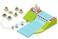 Εγκαταστάσεις υδρο παραγωγής ενέργειας τρισδιάστατη isometric έννοια ηλεκτρικής ενέργειας διανυσματική απεικόνιση