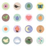 Εγκαταστάσεις φύσης αγάπης και εικονίδιο λουλουδιών καθορισμένο - διάνυσμα Στοκ εικόνα με δικαίωμα ελεύθερης χρήσης