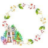 Εγκαταστάσεις χειμερινών κόκκινες μούρων Watercolor, κιβώτια δώρων, χριστουγεννιάτικα δέντρα και homely στεφάνι σπιτιών ελεύθερη απεικόνιση δικαιώματος