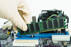 Εγκαταστήστε τη μνήμη RAM στην υποδοχή στοκ φωτογραφία με δικαίωμα ελεύθερης χρήσης