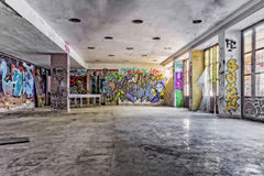 Εγκαταλειμμένη αίθουσα καταστροφών ξενοδοχείων Στοκ Φωτογραφία