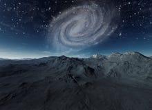 Εγκαταλειμμένος πλανήτης με το σπειροειδή γαλαξία στο υπόβαθρο διανυσματική απεικόνιση
