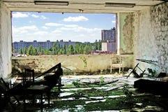 Εγκαταλειμμένο εσωτερικό οικοδόμησης στη ζώνη του Τσέρνομπιλ Chornobyl Disaste Στοκ φωτογραφία με δικαίωμα ελεύθερης χρήσης