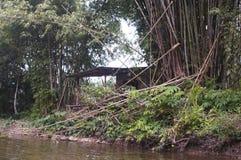 Εγκαταλειμμένο και ατελές παλαιό σπίτι κατά μήκος του ποταμού στην Ταϊλάνδη Στοκ Εικόνες