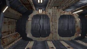 Εγκαταλειμμένο σκουριασμένο εσωτερικό με το άνοιγμα της πόρτας και της άλφα μεταλλίνης απεικόνιση αποθεμάτων