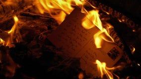 Εγκαύματα καρτών στην πυρκαγιά - γενικό περιεχόμενο απόθεμα βίντεο