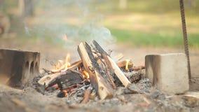Εγκαύματα πυρκαγιάς τουριστών απόθεμα βίντεο