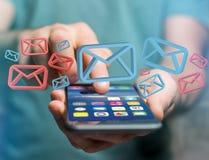 Εγκεκριμένα ηλεκτρονικό ταχυδρομείο και spam μήνυμα που επιδεικνύονται σε ένα φουτουριστικό interf στοκ εικόνα