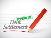 Εγκεκριμένη απεικόνιση μηνυμάτων τακτοποίησης χρέους Στοκ Φωτογραφία
