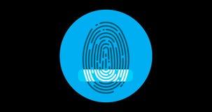 Εγκεκριμένο δακτυλικό αποτύπωμα επίπεδο εικονίδιο ασφαλίστρου που ζωντανεύει με το άλφα κανάλι απεικόνιση αποθεμάτων