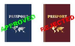 Εγκεκριμένο και απορριφθε'ν διαβατήριο Στοκ εικόνες με δικαίωμα ελεύθερης χρήσης