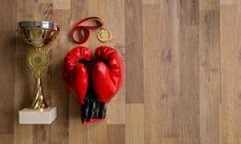 Εγκιβωτίζοντας γάντια και τρόπαια στις ξύλινες σανίδες Στοκ Εικόνες