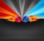 Εγκιβωτίζοντας γάντια κόκκινα και μπλε στο χτύπημα πυρκαγιάς που απομονώνεται μαζί επάνω απεικόνιση αποθεμάτων