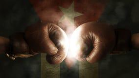 Εγκιβωτίζοντας γάντια με τη σημαία της Κούβας Στοκ Φωτογραφία