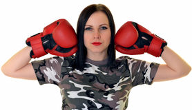 Εγκιβωτίζοντας γυναίκα Στοκ φωτογραφία με δικαίωμα ελεύθερης χρήσης