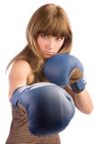 Εγκιβωτίζοντας θηλυκό punching Στοκ εικόνες με δικαίωμα ελεύθερης χρήσης