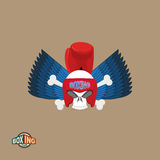Εγκιβωτίζοντας λογότυπο Κρανίο σε ένα εγκιβωτίζοντας κράνος με τα γάντια, με τα φτερά απεικόνιση αποθεμάτων
