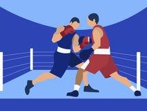 Εγκιβωτισμός ανταγωνισμού, δύο αρσενικοί μπόξερ Στο μινιμαλιστικό επίπεδο διάνυσμα κινούμενων σχεδίων ύφους απεικόνιση αποθεμάτων
