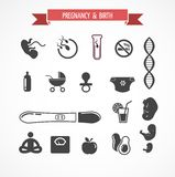 Εγκυμοσύνη και γέννηση, σύνολο εικονιδίων Στοκ φωτογραφία με δικαίωμα ελεύθερης χρήσης