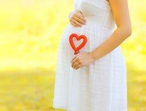 Εγκυμοσύνη, μητρότητα και νέα οικογενειακή έννοια - έγκυος γυναίκα Στοκ Εικόνες