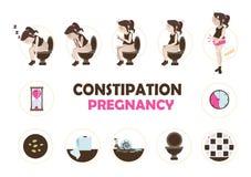 Εγκυμοσύνη δυσκοιλιότητας διανυσματική απεικόνιση