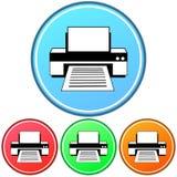 Εγκύκλιος, εικονίδιο εκτυπωτών κλίσης που περιγράφεται τέσσερις παραλλαγές ελεύθερη απεικόνιση δικαιώματος