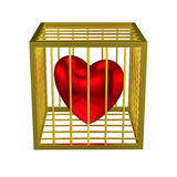 Εγκλωβισμένο χρυσό κλουβί καρδιών Στοκ Εικόνες