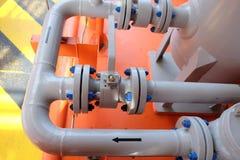 Εγχειρίδιο βαλβίδων στη διαδικασία παραγωγής Στοκ Φωτογραφία