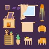 Εγχώρια έπιπλα Εσωτερικό σχέδιο Σύνολο βιβλιοθήκης στοιχείων, καναπές, εστία, λαμπτήρας, λουλούδια, εικόνες Διακόσμηση της ζώνης διανυσματική απεικόνιση