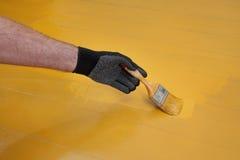 Εγχώρια ανακαίνιση, ζωγραφική πατωμάτων Στοκ φωτογραφίες με δικαίωμα ελεύθερης χρήσης