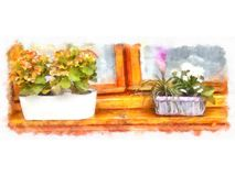 Εγχώρια διάφορα λουλούδια στα δοχεία Ιταλικά προαύλια σχεδίου Στοκ φωτογραφίες με δικαίωμα ελεύθερης χρήσης