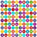 100 εγχώρια εικονίδια καθορισμένα το χρώμα Στοκ Εικόνες
