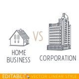Εγχώρια επιχείρηση εναντίον της εταιρίας Μεγάλο corp μικρής εταιρίας κτηρίων Αρχιτεκτονική εμπορίου Editable γραφικό στο γραμμικό Στοκ Φωτογραφία