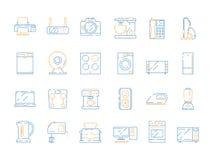 Εγχώρια ηλεκτρικά εικονίδια Διάνυσμα TV ψυγείων συσκευών υπολογιστών μικροκυμάτων εξοπλισμού οικιακών συσκευών που χρωματίζεται σ διανυσματική απεικόνιση
