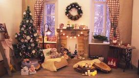 Εγχώρια ντεκόρ χειμερινών Χριστουγέννων απόθεμα βίντεο