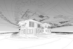 Εγχώρια τρισδιάστατη απεικόνιση σχεδίων αρχιτεκτονικής Στοκ φωτογραφία με δικαίωμα ελεύθερης χρήσης