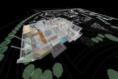Εγχώρια τρισδιάστατη απεικόνιση σχεδίων αρχιτεκτονικής Στοκ εικόνες με δικαίωμα ελεύθερης χρήσης