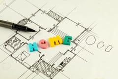 Εγχώριες λέξη και μάνδρα στα σχεδιαγράμματα και το σχέδιο ορόφων, αρχιτεκτονική Στοκ φωτογραφίες με δικαίωμα ελεύθερης χρήσης