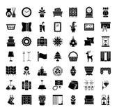 Εγχώριες ντεκόρ & εμφάσεις Εσωτερικό σχέδιο Συλλογή εικονιδίων απεικόνιση αποθεμάτων
