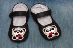 Εγχώριες παντόφλες εικόνα pandas Στοκ Φωτογραφία
