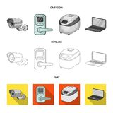 Εγχώριες συσκευές και κινούμενα σχέδια εξοπλισμού, περίληψη, επίπεδα εικονίδια στην καθορισμένη συλλογή για το σχέδιο Σύγχρονο δι Στοκ φωτογραφίες με δικαίωμα ελεύθερης χρήσης