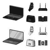 Εγχώριες συσκευές και ο Μαύρος εξοπλισμού, monochrom εικονίδια στην καθορισμένη συλλογή για το σχέδιο Σύγχρονο διάνυσμα οικιακών  Στοκ εικόνα με δικαίωμα ελεύθερης χρήσης