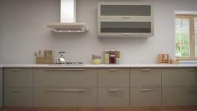 Εγχώριος εσωτερικός περίπατος κατευθείαν από το καθιστικό στην κουζίνα απόθεμα βίντεο