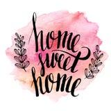 Εγχώριο γλυκό σπίτι, συρμένη χέρι εγγραφή έμπνευσης απεικόνιση αποθεμάτων